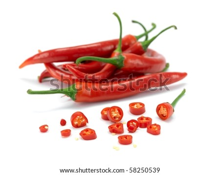 Red chili peppers isolated against a white background - stock photo