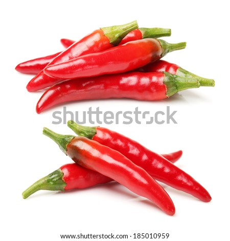 Red chili peppers on white background  - stock photo