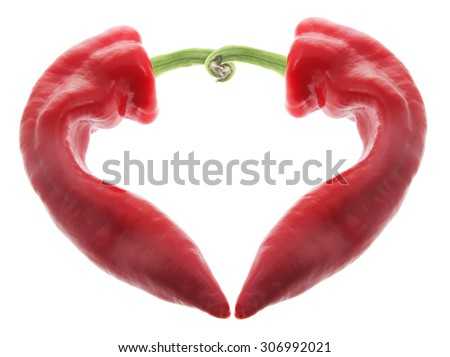 Red Chilli Pepper on White Background - stock photo