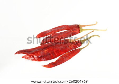 Red Chilli peppers isolated on white - stock photo