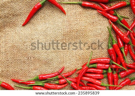 Red chilli peppers on gunny sack texture - stock photo