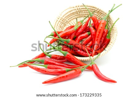 Red chilly pepper isolated on a white background. - stock photo