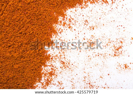 Red Chilly powder texture on white paper