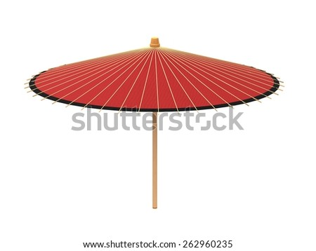 red chinese classical umbrella isolated on white background.
