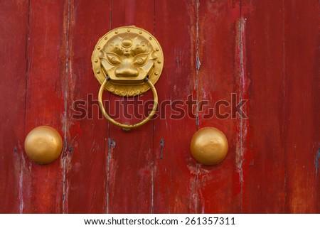Red chinese door. - stock photo