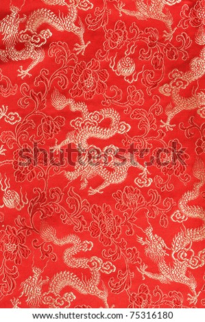 red chinese dragon textile - stock photo