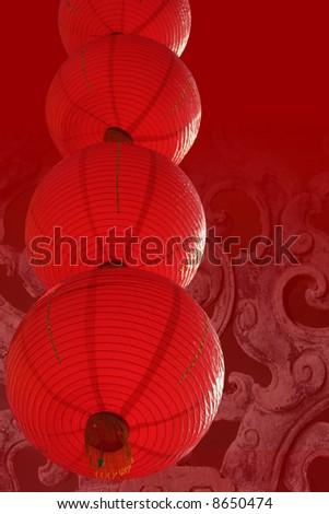 Red Chinese lanterns - stock photo
