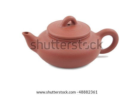 red chinese teapot isolated on white