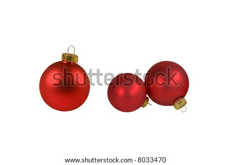 Red chrictmas balls isolated on white background - stock photo