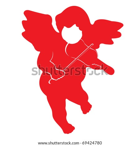 Red Christmas angel isolated on white - stock photo