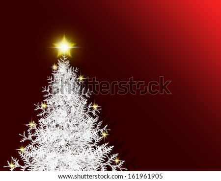 Red christmas background and fir tree.