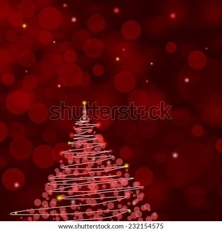 Red Christmas background with Christmas tree and empty space for text - stock photo
