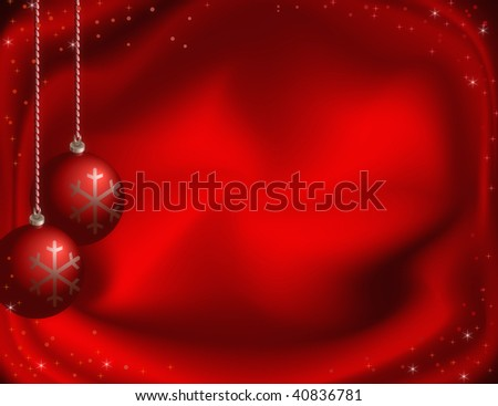 Red christmas background with Christmas-tree decorations, stars and snowflakes.
