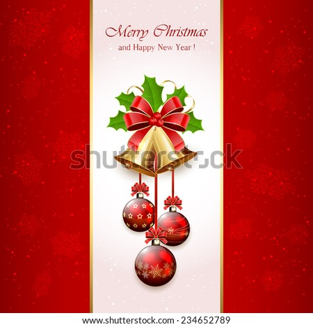 Red Christmas background with golden bells, red bow, balls, tinsel and Holly berries, illustration. - stock photo