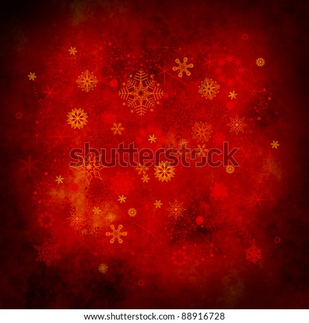 red christmas background with snowflakes - stock photo