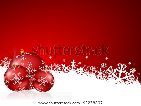 red christmas background with snowflakes and christmas balls - stock photo