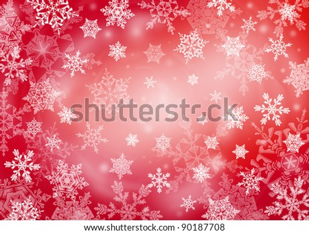 Red Christmas background with snowflakes in different sizes. Snowflakes are drawn from these natural snowflakes. - stock photo