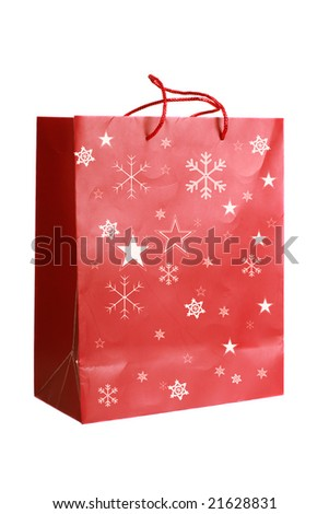 Red Christmas Bag With Golden Stars And Snowflakes - stock photo