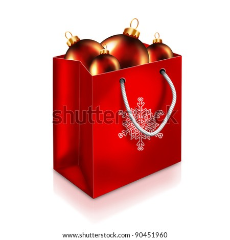 Red Christmas Bag With red balls isolated on white background - stock photo