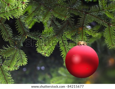 red Christmas ball and green spruce branch - stock photo