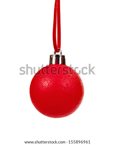 red Christmas ball hanging from a rope on a white background - stock photo