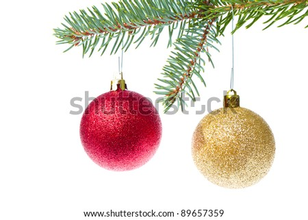 red christmas ball hanging from tree isolated on white background - stock photo