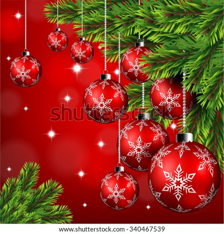 Red christmas ball hanging on pine leaves in red background
