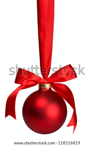 red christmas  ball hanging on ribbon isolated on white - stock photo