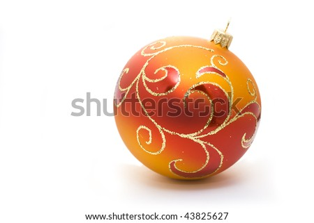 red christmas ball isolated on white - stock photo