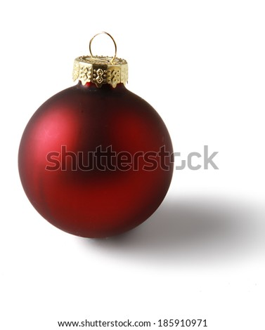 Red christmas ball, isolated on white background - stock photo