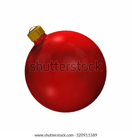 red Christmas ball - isolated on white background