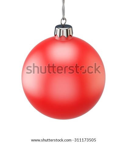 Red christmas ball isolated on white background. 3d illustration. - stock photo