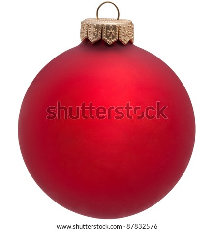 red christmas ball. Isolated over white. - stock photo