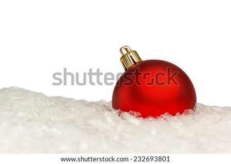 Red Christmas ball on a light background