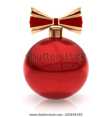 Red Christmas ball on white - stock photo