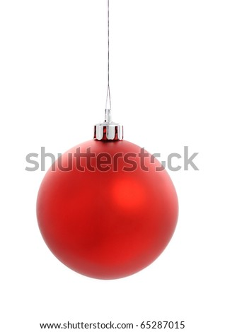 Red Christmas Ball on white - stock photo