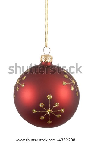 Red christmas ball or bauble with gold snowflake pattern isolated against a white background