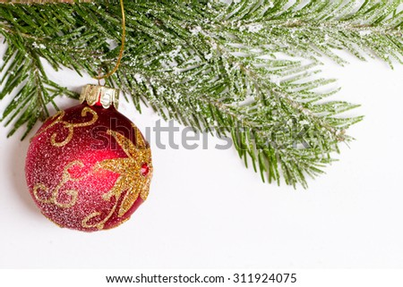 Red Christmas ball weighs Westcom spruce Bol background - stock photo