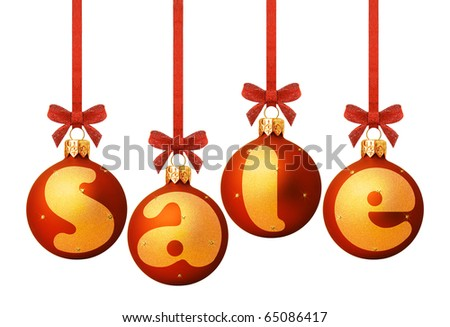 Red Christmas ball with a text SALE - stock photo