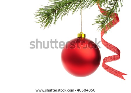 Red Christmas ball with fir branches isolated on white - stock photo
