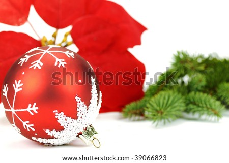 Red christmas ball with poinsettia and pine branch on the white background - stock photo
