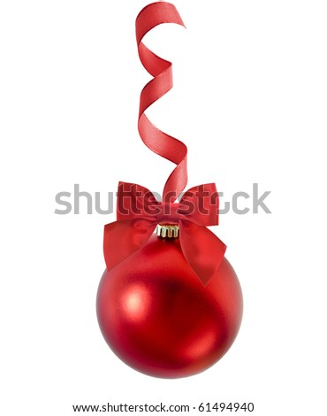 red christmas ball with red ribbon bow on white