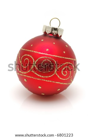 Red christmas ball with reflection in isolated white background