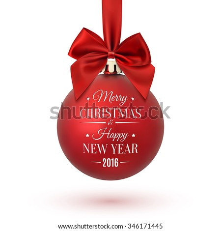 Red Christmas ball with ribbon and a bow, isolated on white background. Merry Christmas and Happy New Year. - stock photo