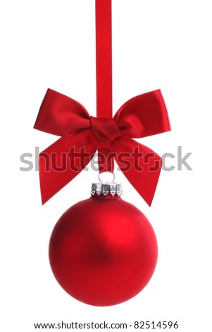 Red Christmas ball with ribbon bow,Isolated on white background. - stock photo