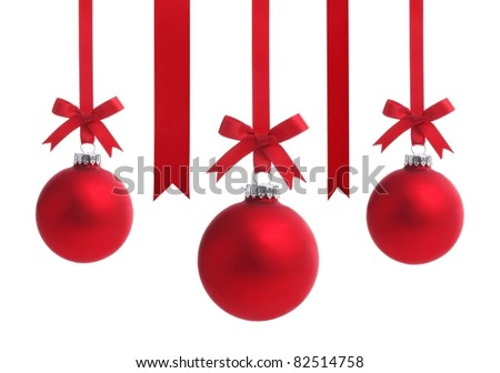 Red Christmas ball with ribbon bow,Isolated on white background.