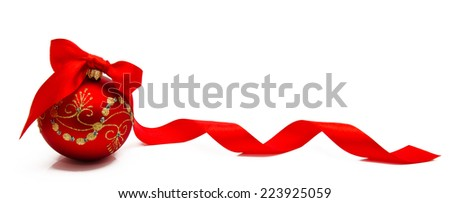 Red christmas ball with ribbon isolated on a white background  - stock photo