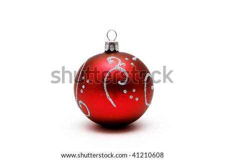 Red christmas ball with silver pattern isolated on white background - stock photo