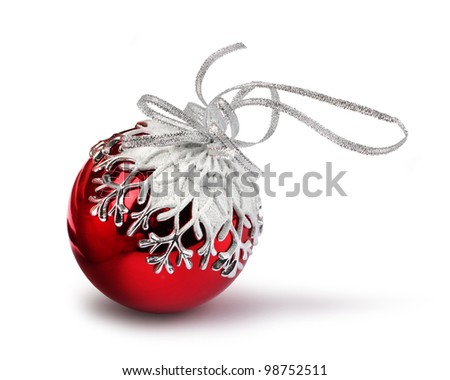 Red Christmas ball with snowflake decoration, isolated on white - stock photo