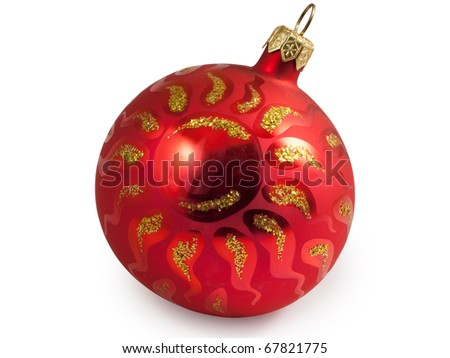 Red christmas ball with sun. Isolated on white background with clipping path.